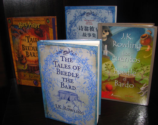 Tales of Beedle the Bard (clockwise from front: UK, US, Chinese, Spanish)